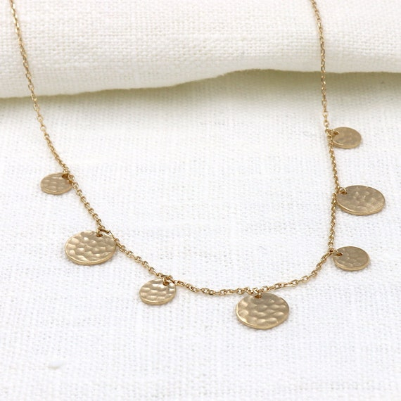 woman necklace plated gold hammered pellets