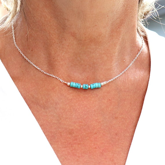 Necklace natural turquoise stones on solid silver chain, choker woman, necklace silver