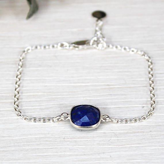 gemstone lapis lazuli on a chain bracelet 925 sterling silver