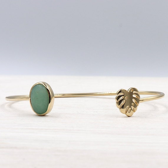 Bangle is jungle aventurine plated gold for women
