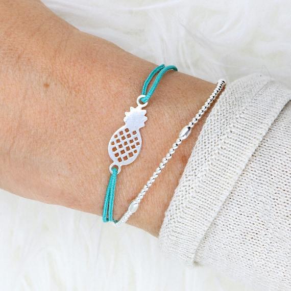 women's pineapple cord bracelet Silver 925