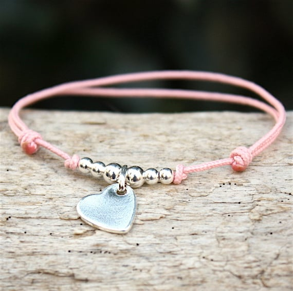 Bracelet silver heart 925 choice of string and beads
