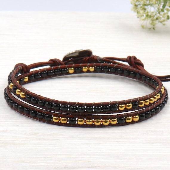 black and Golden miyuki Beads Bracelet women wrap twice