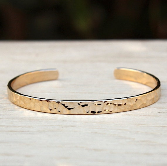 gold plated hammered Bangle Bracelet
