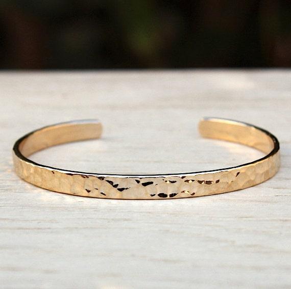 gold-plated hammered rush bracelet