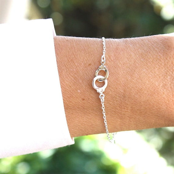 Silver handcuff 925 on chain bracelet