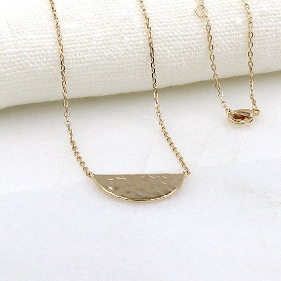 women necklace plated gold plated hammered
