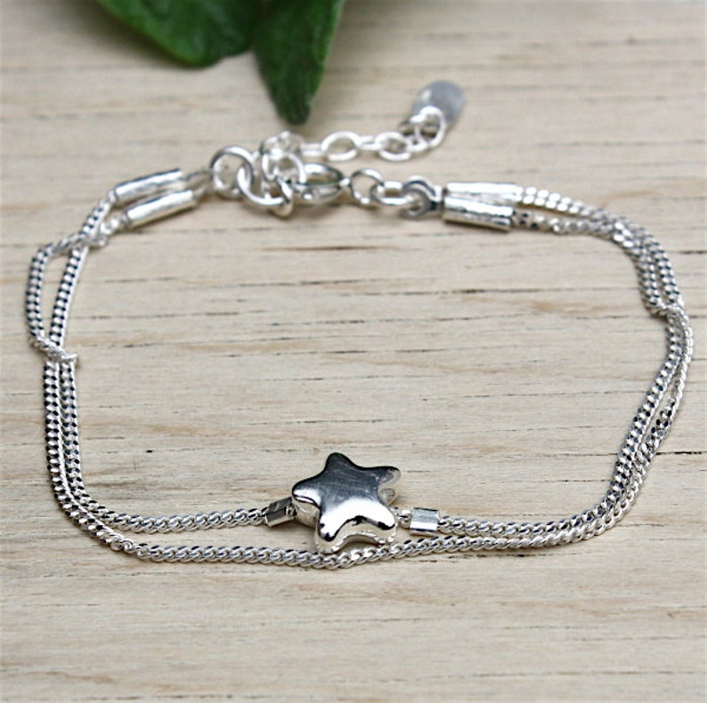 double curb chain and star in Silver 925 chain bracelet