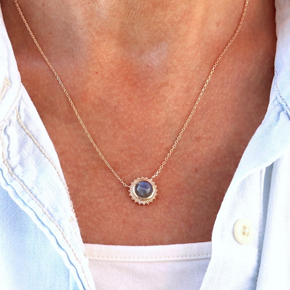 women's sun pendant necklace plated gold and labradorite stone