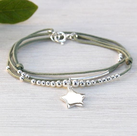 cord bracelet triple towers Rod beads and star 925 sterling silver