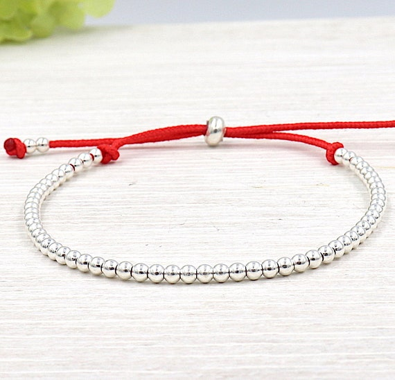 925 silver bead bracelet on cord of your choice