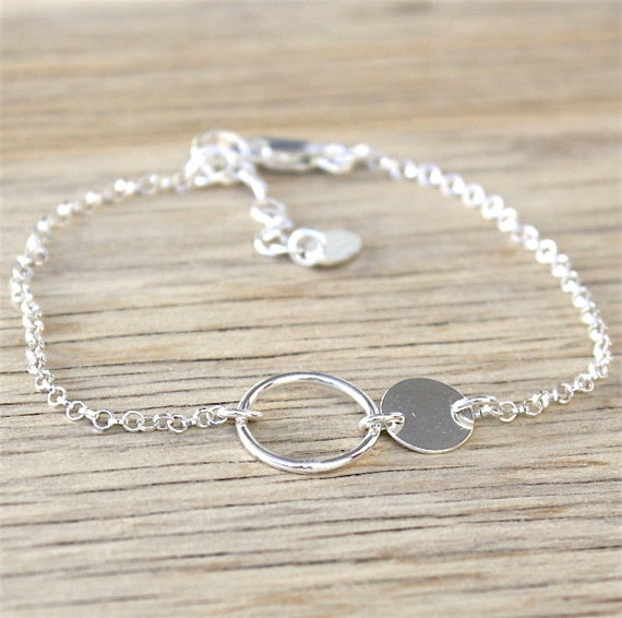 Sterling Silver coin and ring bracelet on chain