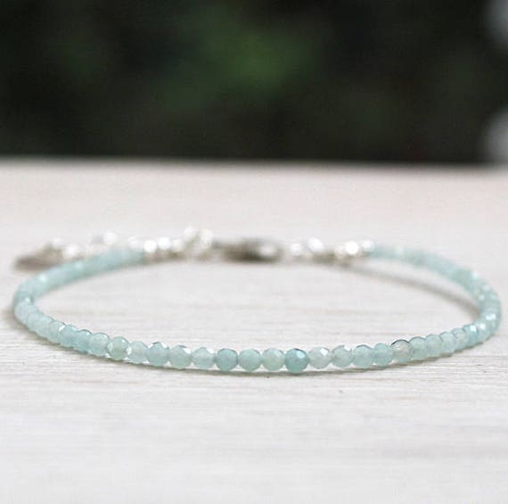 Bracelet fine woman faceted amazonite gem stones