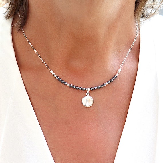Necklace natural terahertz stones and medaille on chain,choker woman in solid silver