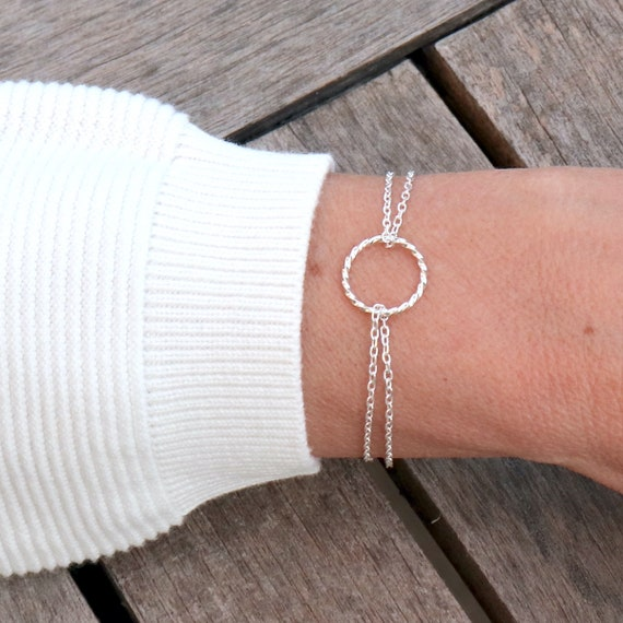 twisted ring bracelet on double silver chains 925 woman