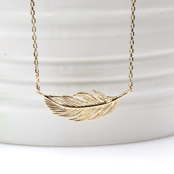 Feather gold plated necklace for women