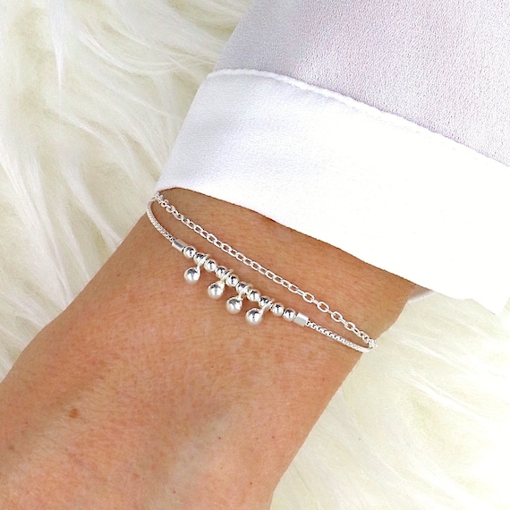 double chain bracelet and silver beads 925 for women