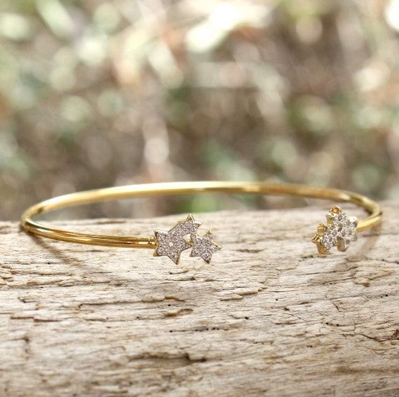 gold plated Bangle 750 thousandth star cubic zirconia