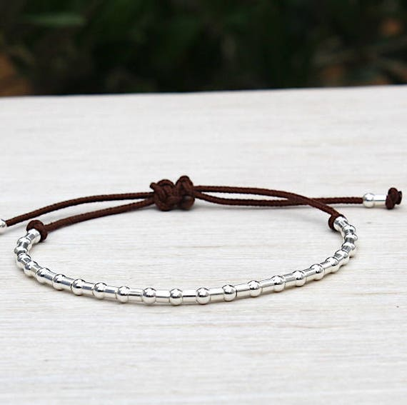 925 silver bracelet and silver tubes on cord to choose from