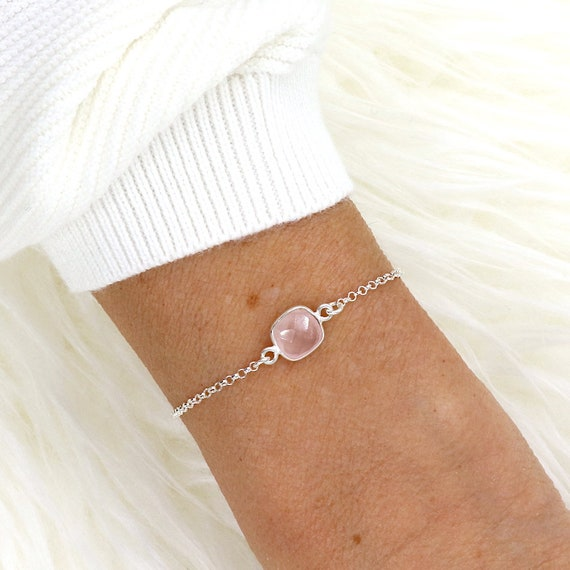 woman bracelet stone stones quartz pink on silver chain 925