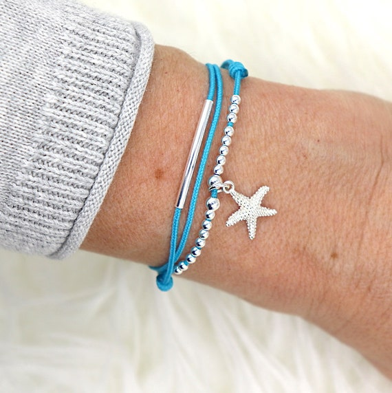 cord woman triple bracelet 925 sterling silver sea star tours