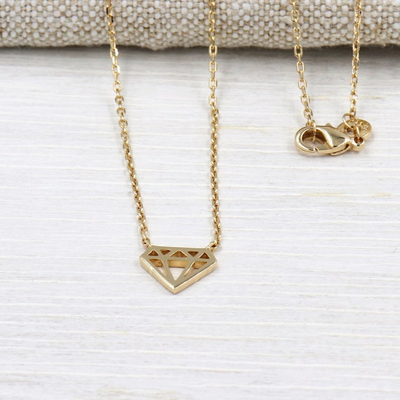 women gold plated diamond charm necklace