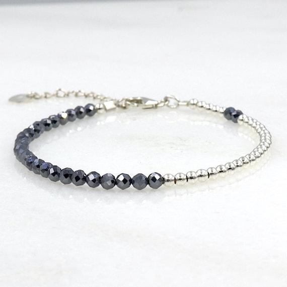 women's bracelet beads silver 925 and terrahertz faceted stones