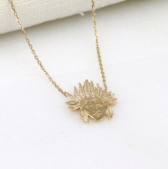 women gold plated Indian head necklace