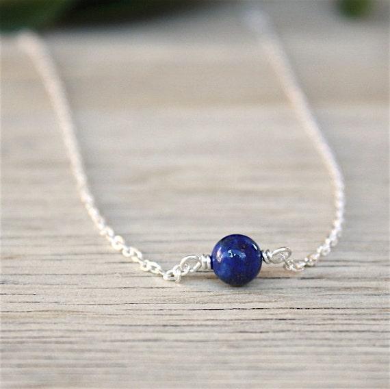 lapis lazuli gemstone necklace on silver chain 925