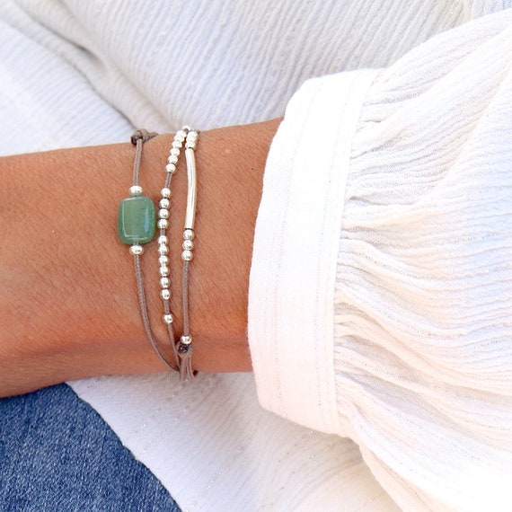 bracelet cord three towers stone aventurine rush and beads, bracelet woman solid silver