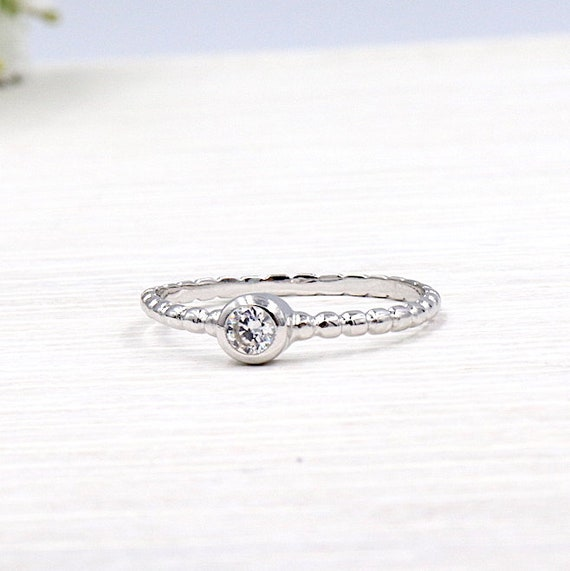 925 silver ring and solitaire stone zircon set