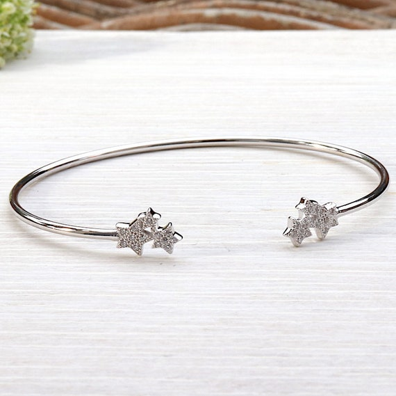 Bangle Bracelet 925 Silver stars and cubic zirconia