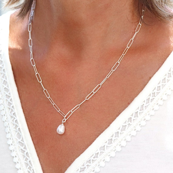 Necklace pearl of fresh water on chain in solid silver 925, necklace woman pearl of culture, gift woman
