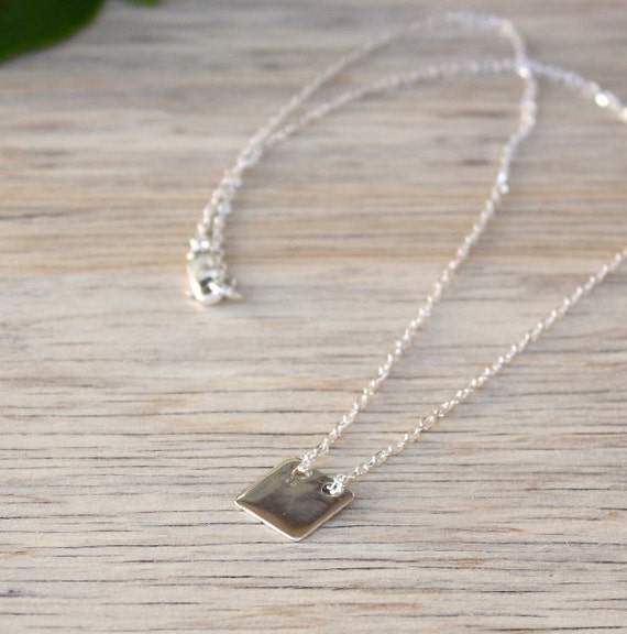 Necklace square plate on 925 sterling silver chain