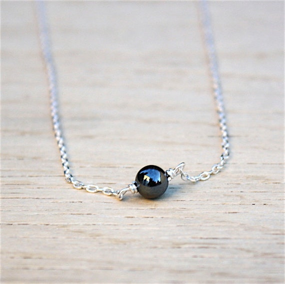 925 solid silver chain necklace and hematite gemstone