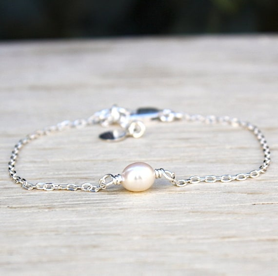 925 silver bracelet freshwater pearls on chain