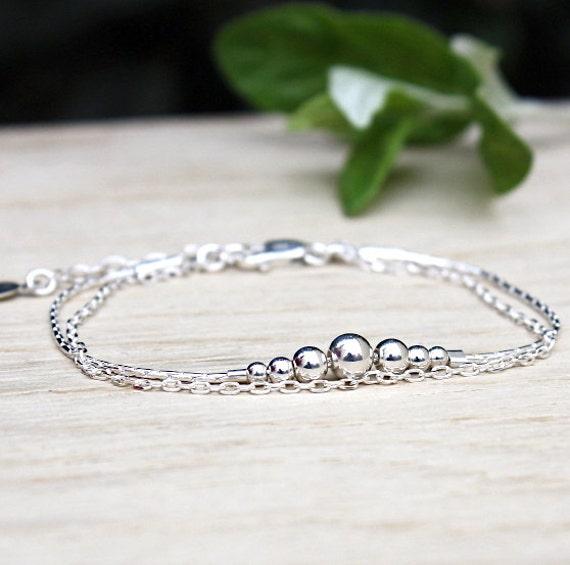 Bracelet Silver 925 beads degraded double chain