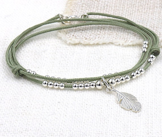 cord bracelet three round women 925 sterling silver beads and feather