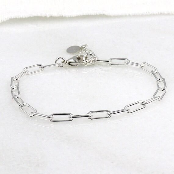 925 silver rectangle mesh chain bracelet for women