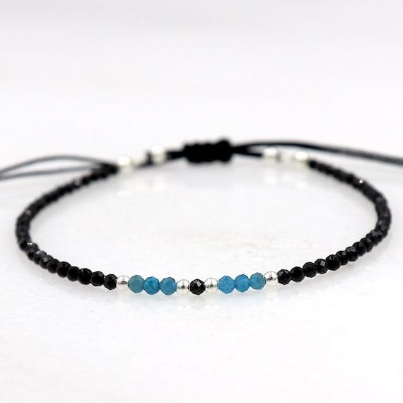 fine cord bracelet apatite gemstones and black agates, fine cord bracelet, minimalist bracelet
