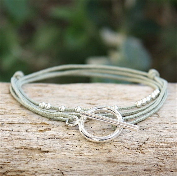 triple-tower string bracelet beads and t connector silver 925