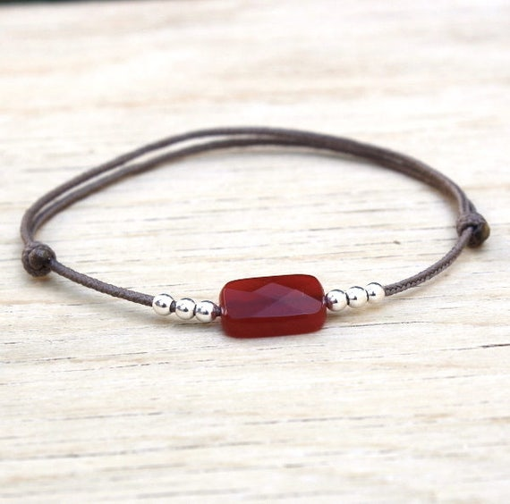 red agate rectangle bracelet and silver beads 925