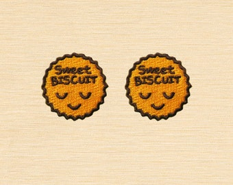 Set of 2 pcs Mini Smile Smiley Sweet biscuit Iron On Patches Sew On Appliques