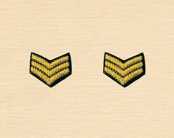 Set of 2 pcs Mini Soldier Sign Iron On Patches Sew On Appliques