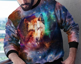 9647d58d96f Tumblr Clothing Trendy Wear 3D Jumper Wolf Lover Hoodie Stars Svg Space  Sweatshirt Full Printed Wolf Sweater Colorful Galaxy Pullover YP1287