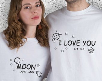 f2a8b24334 I Love You To The Moon And Back Couple T-shirts Engagement Gifts For Couple  Honeymoon Shirts Matching Couple T Shirts Wedding Gift YP1301