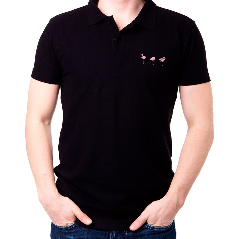8bc850c9e55b86 Custom Polo Shirt Embroidered Polo Polo T Shirt Flamingo Print Etsy