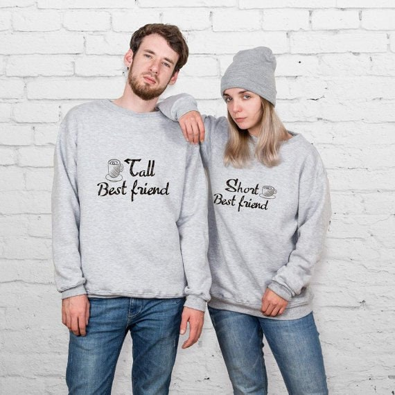 Tall Best Friend Short Best Friend Sweatshirt Warm Outfit Gift For Christmas Jumper For Girlfriend Couple Sweaters Parchen Pullover YP3311
