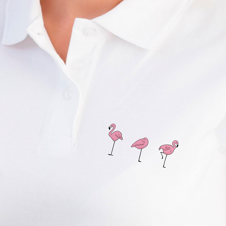 Custom Polo Shirt Embroidered Polo Polo T Shirt Flamingo Print Etsy