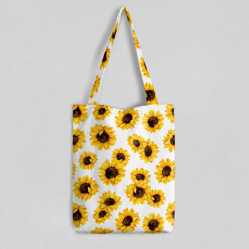 cfee589f40 Sunflower Tote Bag Sunflower Print Shopping Bag Shoulder Bag